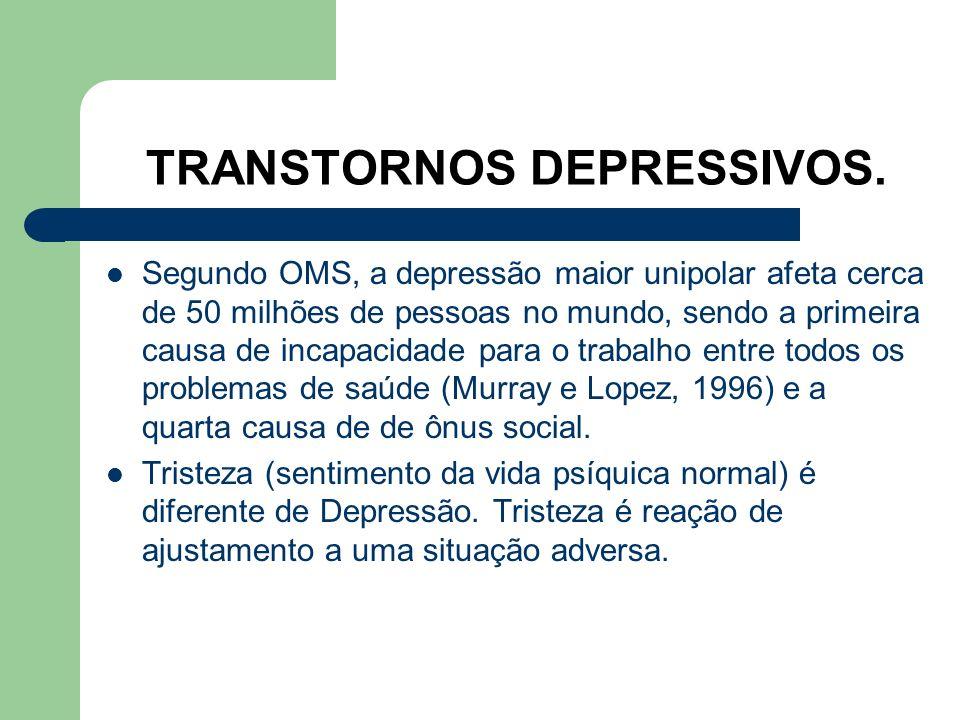 Prevalência das Doenças Psiquiátricas no Brasil (Almeida e cols, 1997). 31 a 50% da população apresenta durante a vida pelo menos um episódio de trans