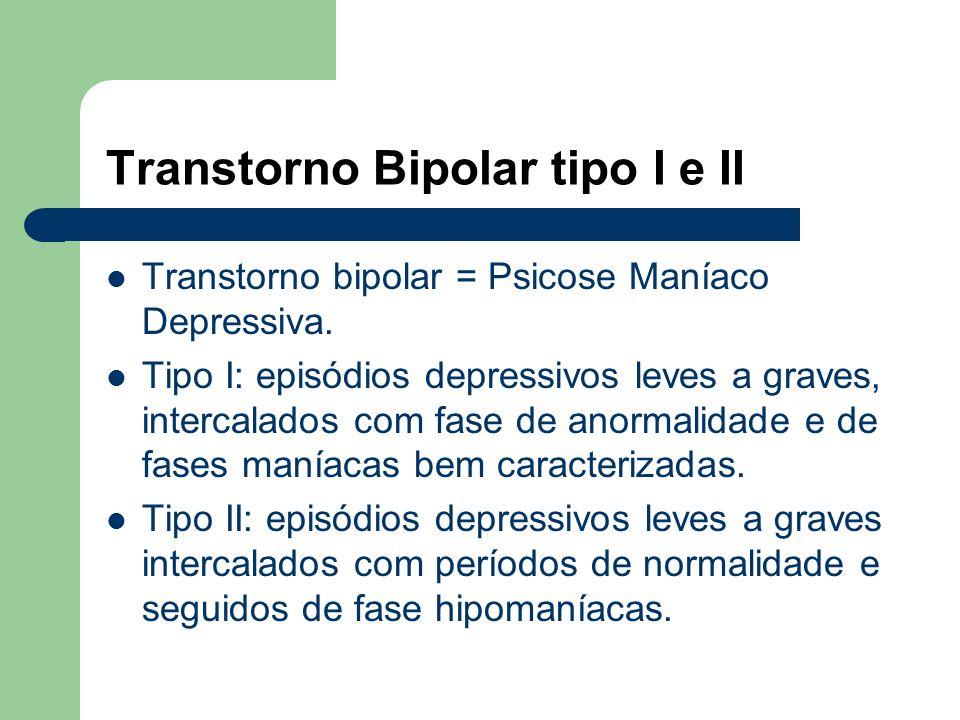 Transtornos Maníacos. 3) Ciclotimia. Pacientes que apresentam ao longo da vida freqüentes períodos de leves sintomas depressivos seguidos de períodos