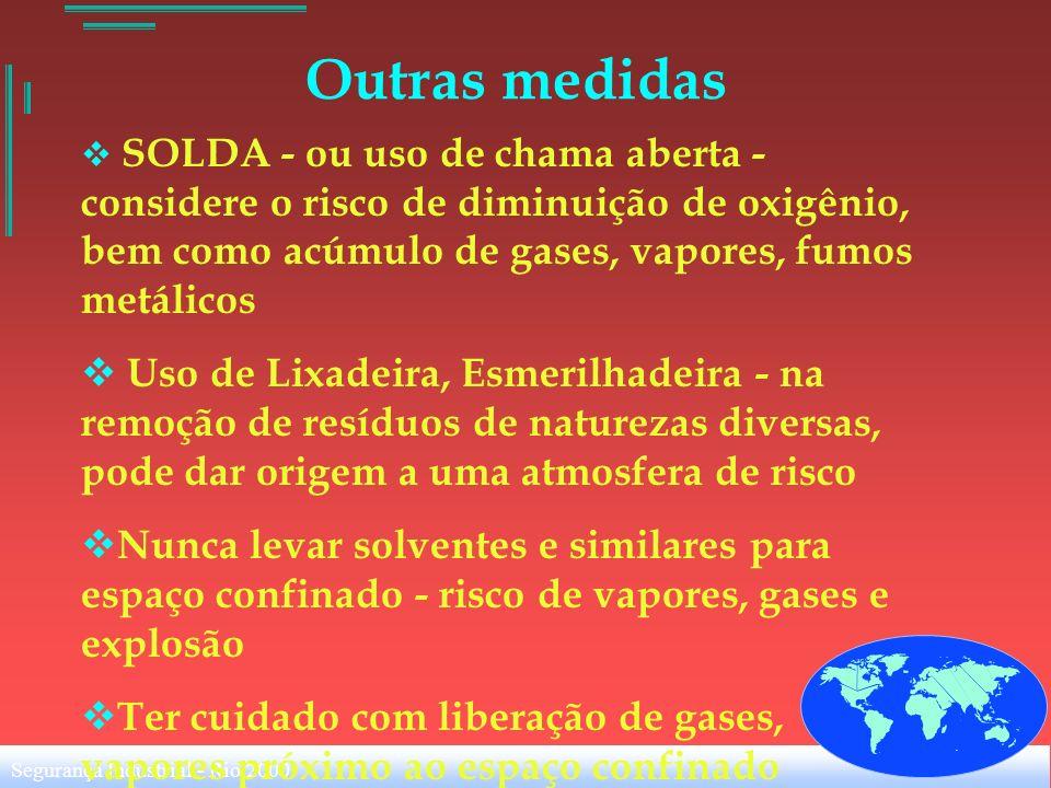 Segurança Industrial - Rio 2000 Outras medidas SOLDA - ou uso de chama aberta - considere o risco de diminuição de oxigênio, bem como acúmulo de gases