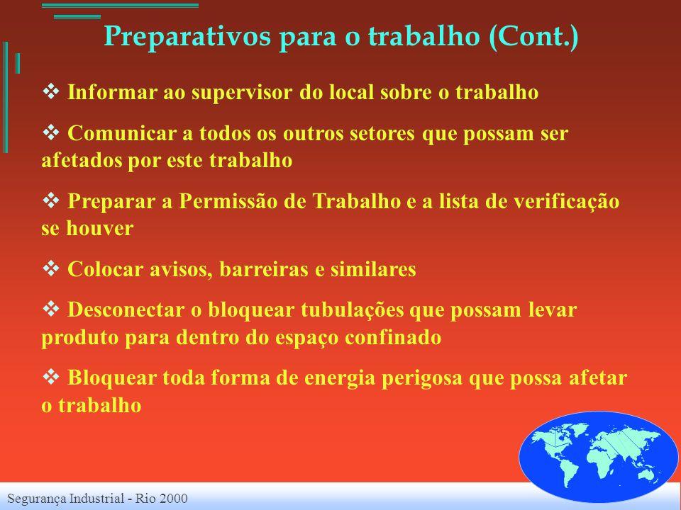 Segurança Industrial - Rio 2000 Preparativos para o trabalho (Cont.) Informar ao supervisor do local sobre o trabalho Comunicar a todos os outros seto