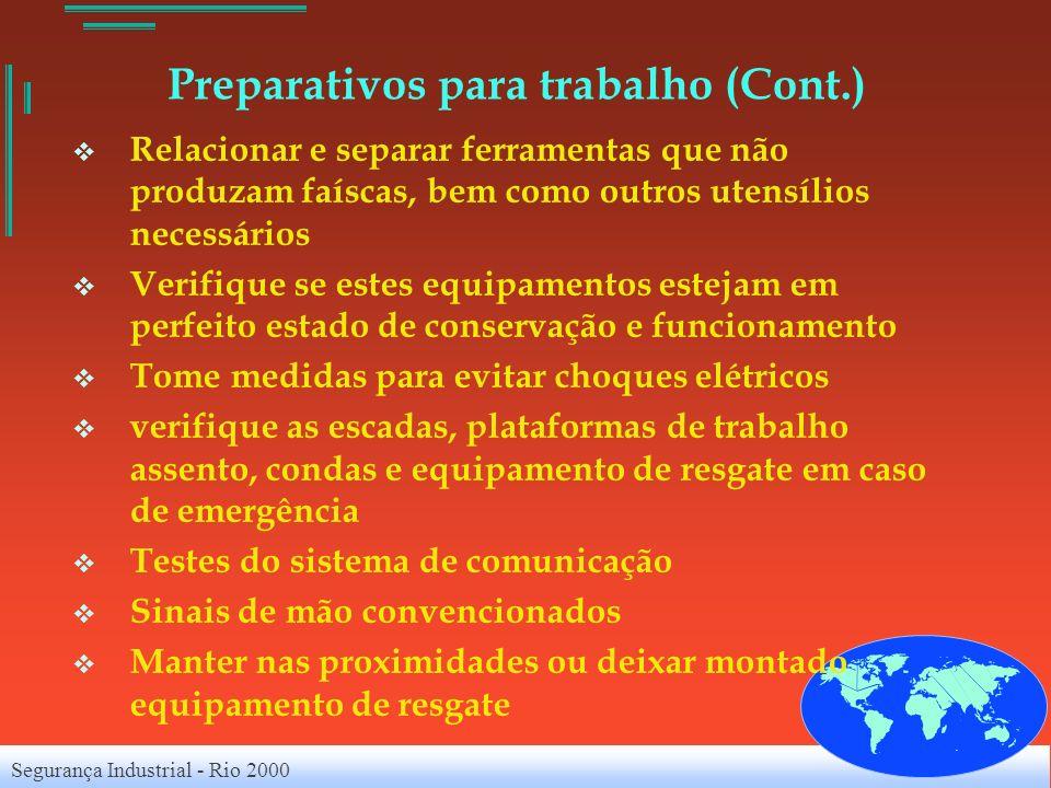 Segurança Industrial - Rio 2000 Preparativos para trabalho (Cont.) Relacionar e separar ferramentas que não produzam faíscas, bem como outros utensíli
