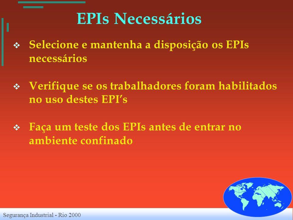 Segurança Industrial - Rio 2000 EPIs Necessários Selecione e mantenha a disposição os EPIs necessários Verifique se os trabalhadores foram habilitados