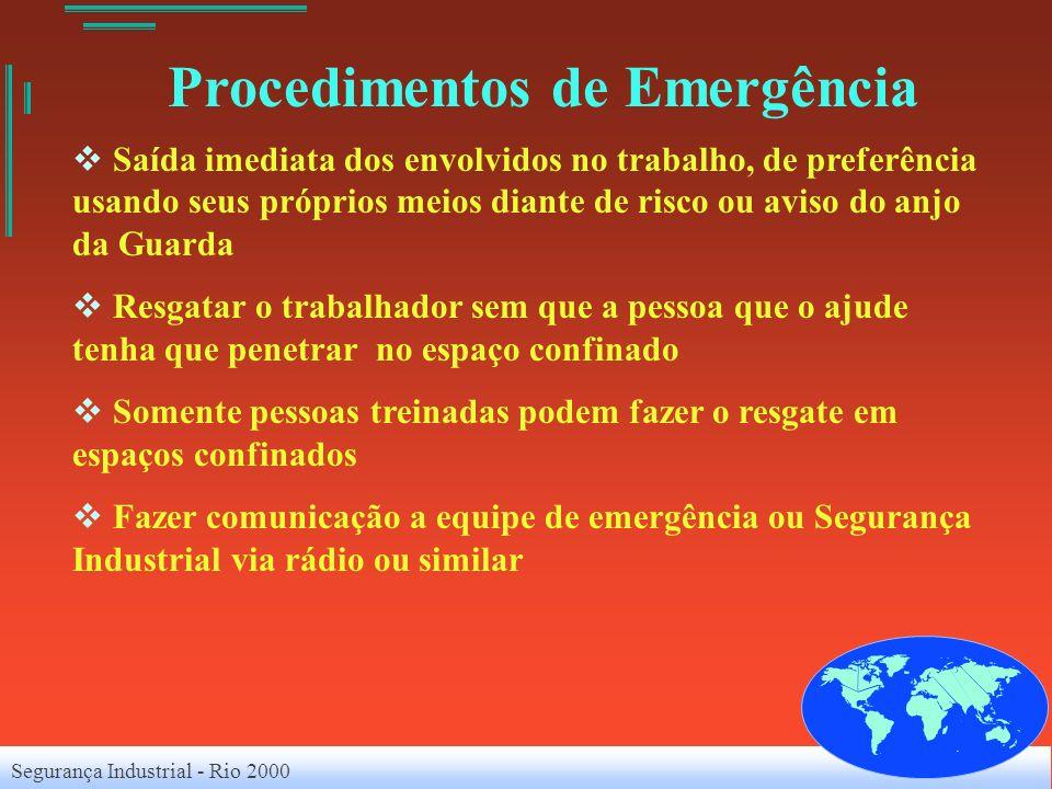 Segurança Industrial - Rio 2000 Procedimentos de Emergência Saída imediata dos envolvidos no trabalho, de preferência usando seus próprios meios diant