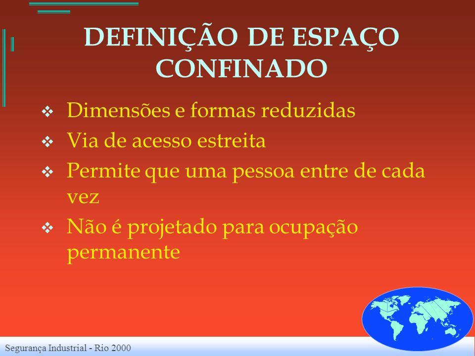 Segurança Industrial - Rio 2000 DEFINIÇÃO DE ESPAÇO CONFINADO Dimensões e formas reduzidas Via de acesso estreita Permite que uma pessoa entre de cada