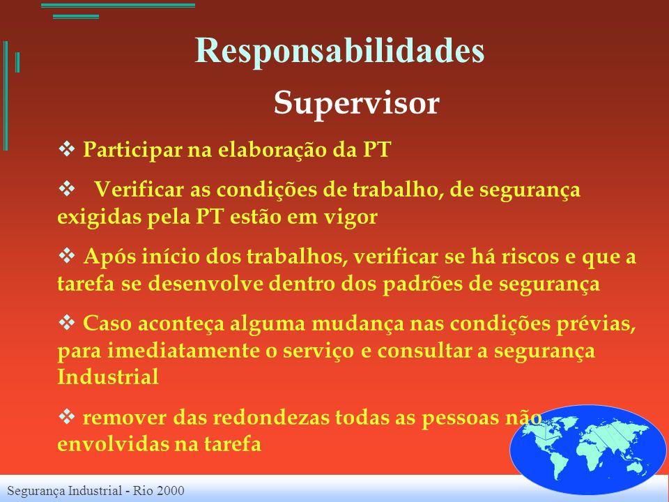 Segurança Industrial - Rio 2000 Responsabilidades Supervisor Participar na elaboração da PT Verificar as condições de trabalho, de segurança exigidas