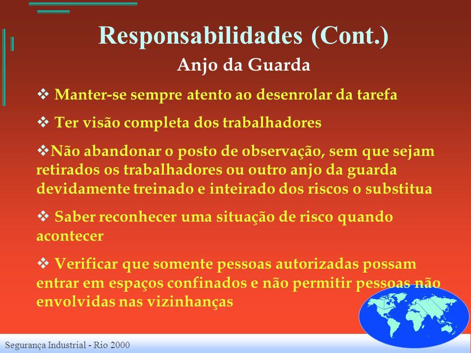Segurança Industrial - Rio 2000 Responsabilidades (Cont.) Anjo da Guarda Manter-se sempre atento ao desenrolar da tarefa Ter visão completa dos trabal