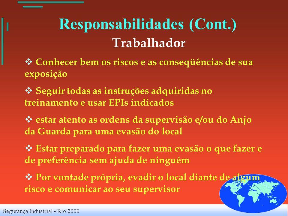 Segurança Industrial - Rio 2000 Responsabilidades (Cont.) Trabalhador Conhecer bem os riscos e as conseqüências de sua exposição Seguir todas as instr