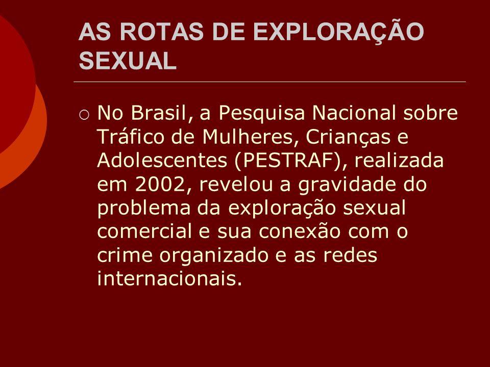 AS ROTAS DE EXPLORAÇÃO SEXUAL No Brasil, a Pesquisa Nacional sobre Tráfico de Mulheres, Crianças e Adolescentes (PESTRAF), realizada em 2002, revelou