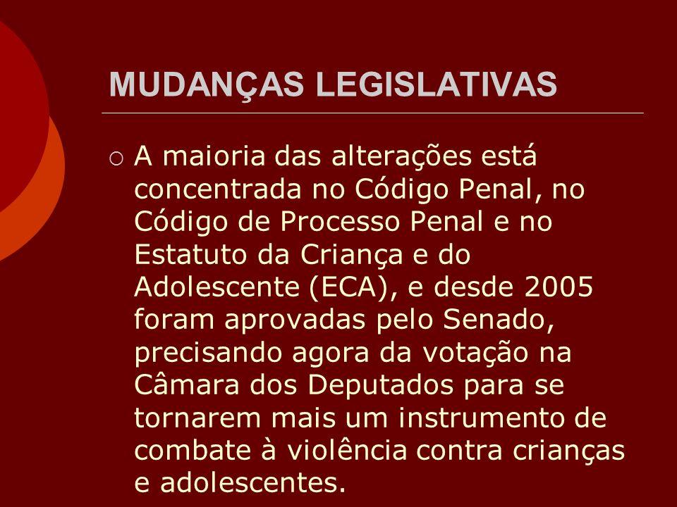 MUDANÇAS LEGISLATIVAS A maioria das alterações está concentrada no Código Penal, no Código de Processo Penal e no Estatuto da Criança e do Adolescente