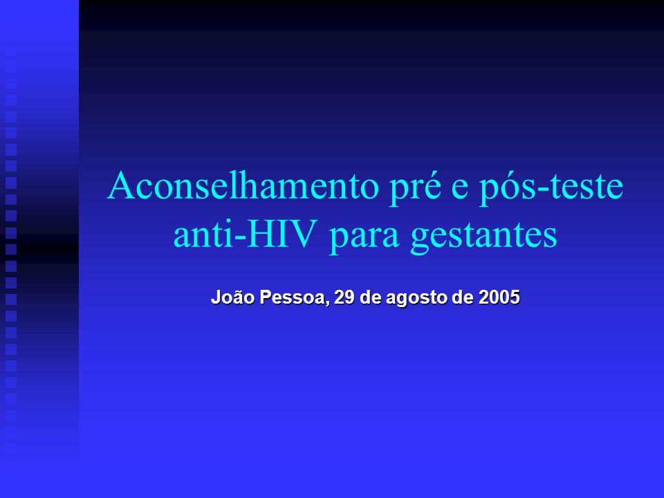 Introdução Aconselhamento pré e pós-teste anti-HIV Aconselhamento pré e pós-teste anti-HIV Transmissão perinatal do HIV Transmissão perinatal do HIV Aconselhamento para gestantes Aconselhamento para gestantes