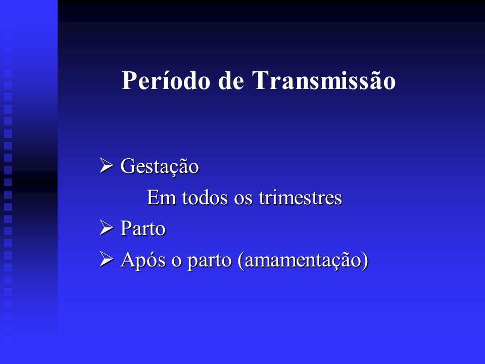 Período de Transmissão Gestação Gestação Em todos os trimestres Parto Parto Após o parto (amamentação) Após o parto (amamentação)