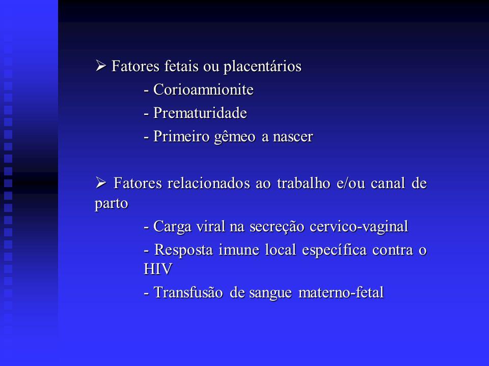 Fatores fetais ou placentários Fatores fetais ou placentários - Corioamnionite - Prematuridade - Primeiro gêmeo a nascer Fatores relacionados ao traba