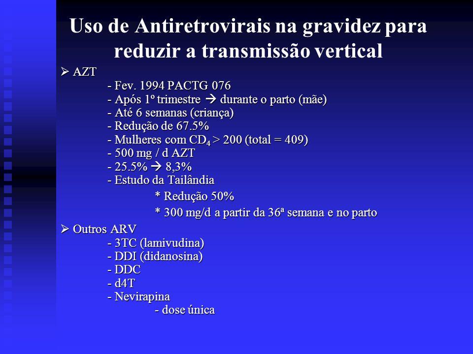 Uso de Antiretrovirais na gravidez para reduzir a transmissão vertical AZT AZT - Fev. 1994 PACTG 076 - Após 1º trimestre durante o parto (mãe) - Até 6