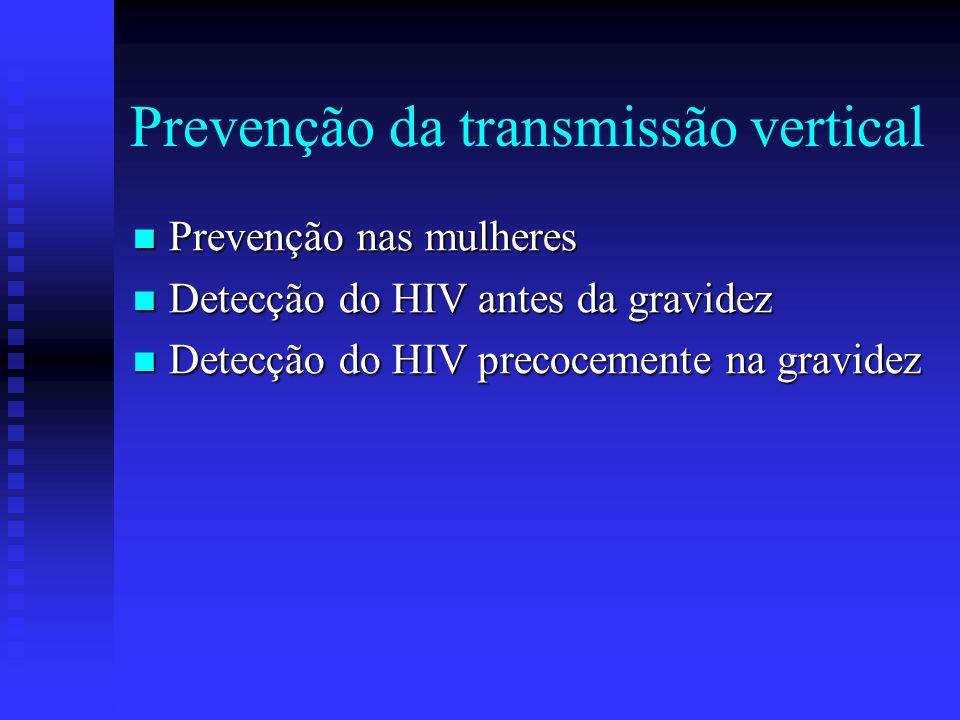 Prevenção da transmissão vertical Prevenção nas mulheres Prevenção nas mulheres Detecção do HIV antes da gravidez Detecção do HIV antes da gravidez De