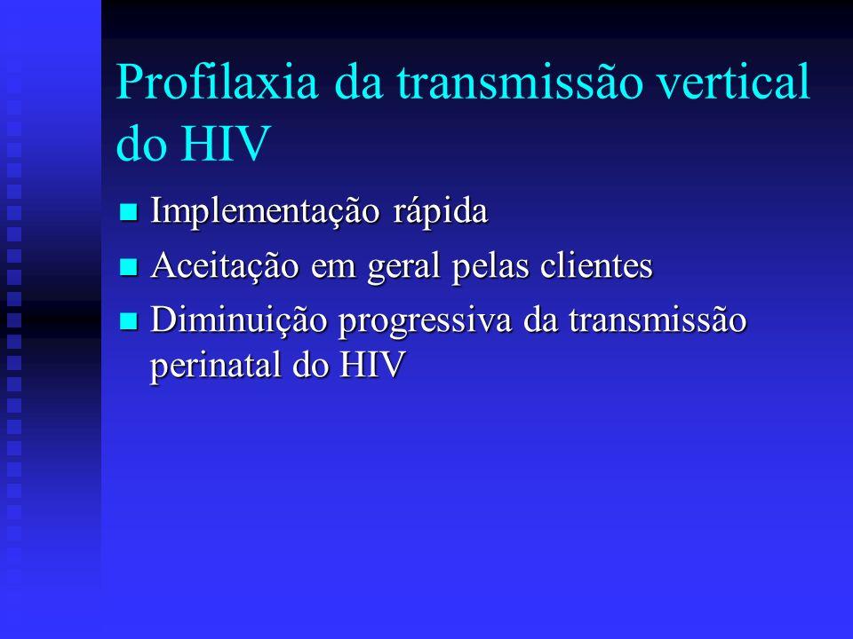 Profilaxia da transmissão vertical do HIV Implementação rápida Implementação rápida Aceitação em geral pelas clientes Aceitação em geral pelas cliente