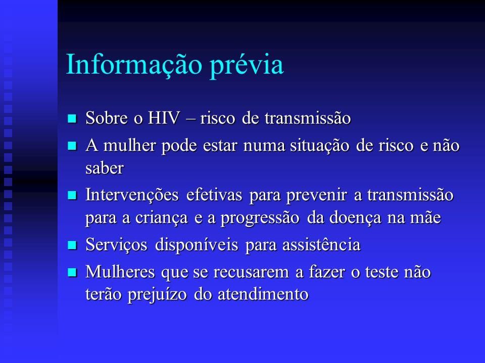 Informação prévia Sobre o HIV – risco de transmissão Sobre o HIV – risco de transmissão A mulher pode estar numa situação de risco e não saber A mulhe