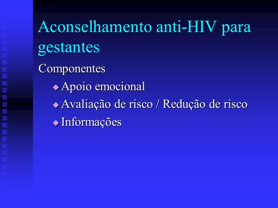 Aconselhamento anti-HIV para gestantes Componentes Apoio emocional Apoio emocional Avaliação de risco / Redução de risco Avaliação de risco / Redução
