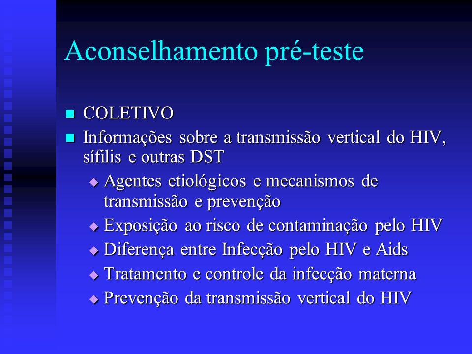 Aconselhamento pré-teste COLETIVO COLETIVO Informações sobre a transmissão vertical do HIV, sífilis e outras DST Informações sobre a transmissão verti