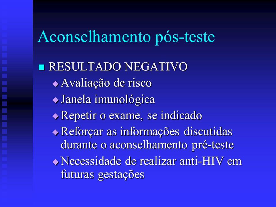 Aconselhamento pós-teste RESULTADO NEGATIVO RESULTADO NEGATIVO Avaliação de risco Avaliação de risco Janela imunológica Janela imunológica Repetir o e