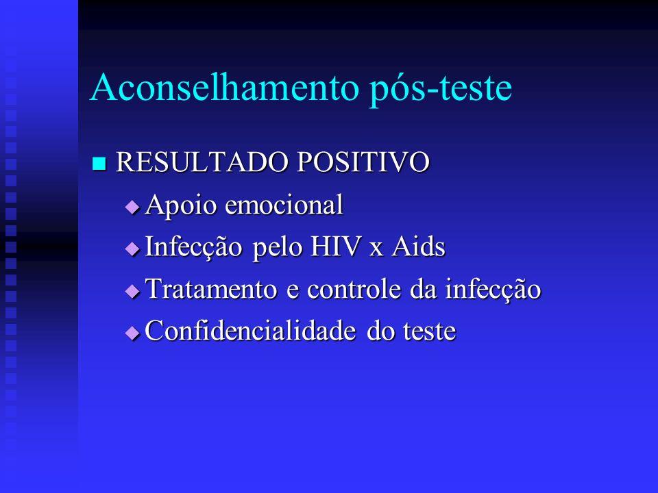 Aconselhamento pós-teste RESULTADO POSITIVO RESULTADO POSITIVO Apoio emocional Apoio emocional Infecção pelo HIV x Aids Infecção pelo HIV x Aids Trata