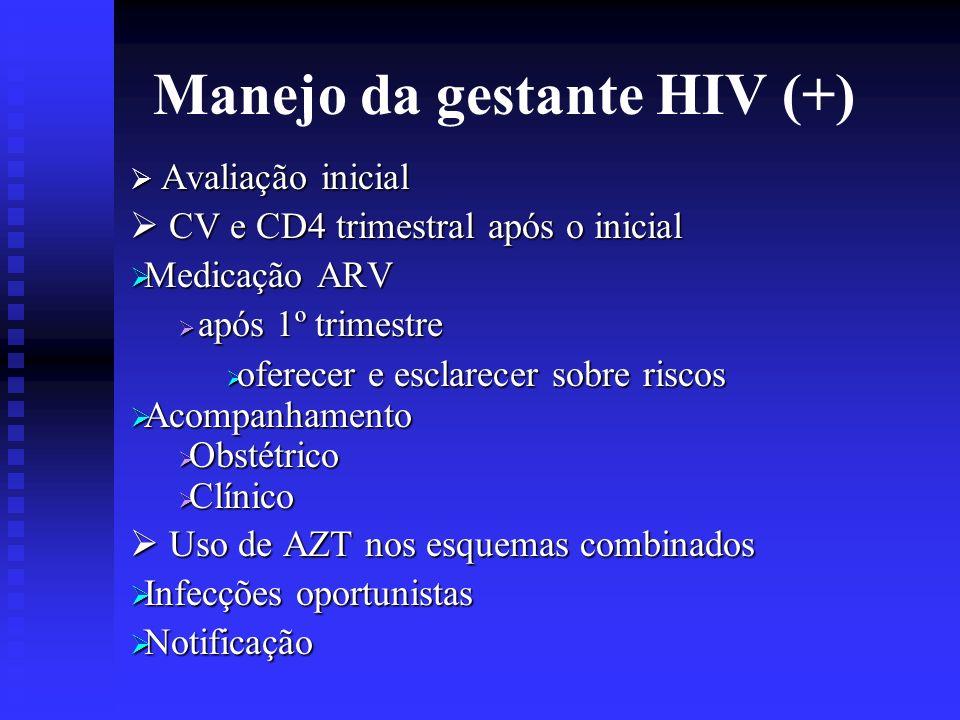 Manejo da gestante HIV (+) Avaliação inicial Avaliação inicial CV e CD4 trimestral após o inicial CV e CD4 trimestral após o inicial Medicação ARV Med