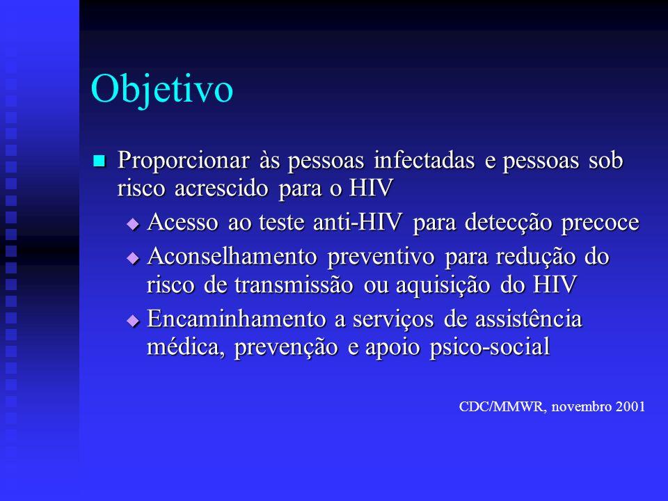Objetivo Proporcionar às pessoas infectadas e pessoas sob risco acrescido para o HIV Proporcionar às pessoas infectadas e pessoas sob risco acrescido