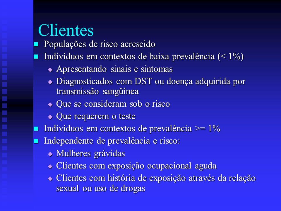 Clientes Populações de risco acrescido Populações de risco acrescido Indivíduos em contextos de baixa prevalência (< 1%) Indivíduos em contextos de ba