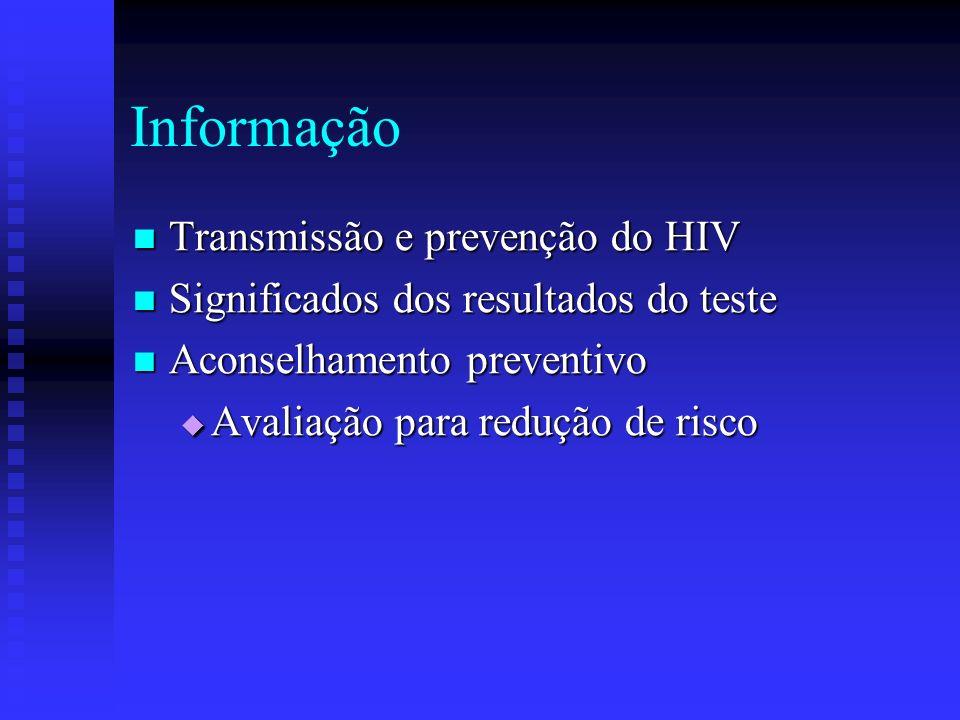 Aconselhamento pós-teste RESULTADO POSITIVO RESULTADO POSITIVO Apoio emocional Apoio emocional Infecção pelo HIV x Aids Infecção pelo HIV x Aids Tratamento e controle da infecção Tratamento e controle da infecção Confidencialidade do teste Confidencialidade do teste