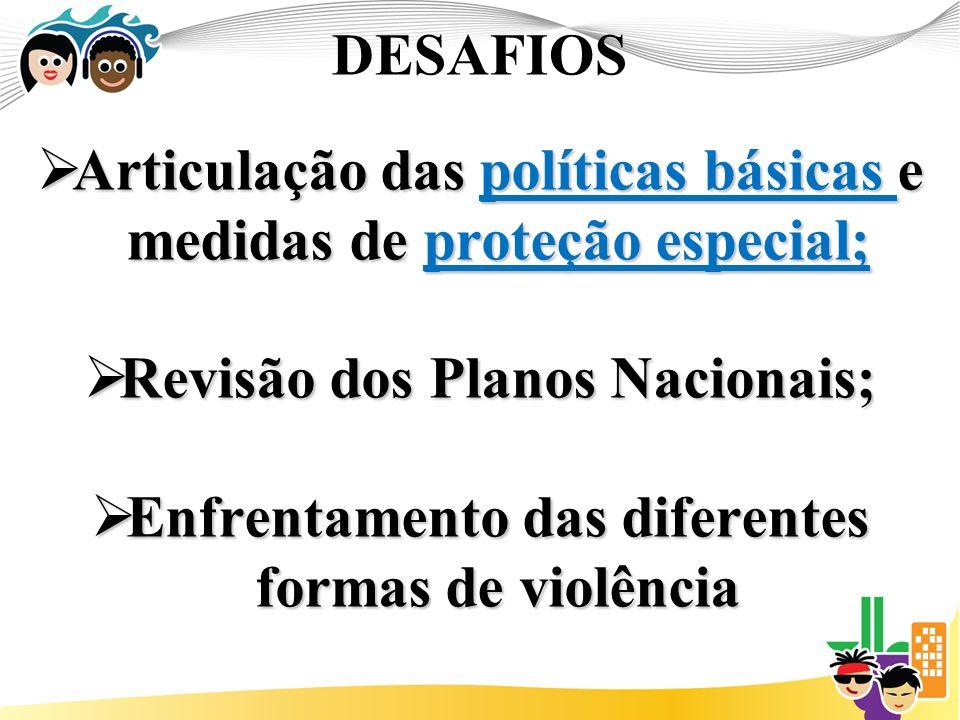 DESAFIOS Articulação das políticas básicas e medidas de proteção especial; Articulação das políticas básicas e medidas de proteção especial; Revisão dos Planos Nacionais; Revisão dos Planos Nacionais; Enfrentamento das diferentes formas de violência Enfrentamento das diferentes formas de violência