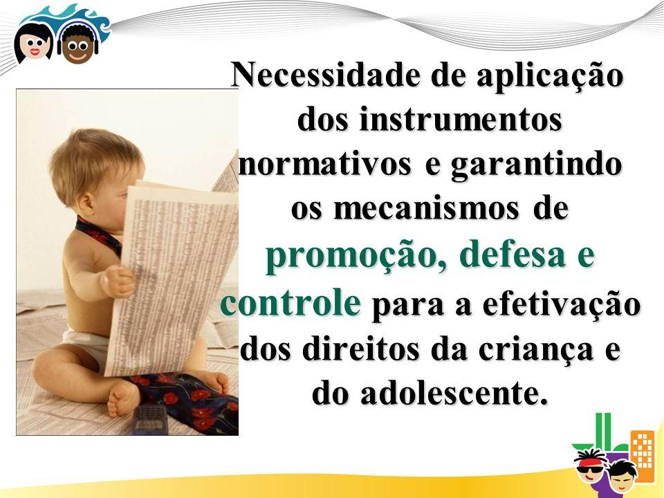 Necessidade de aplicação dos instrumentos normativos e garantindo os mecanismos de promoção, defesa e controle para a efetivação dos direitos da criança e do adolescente.