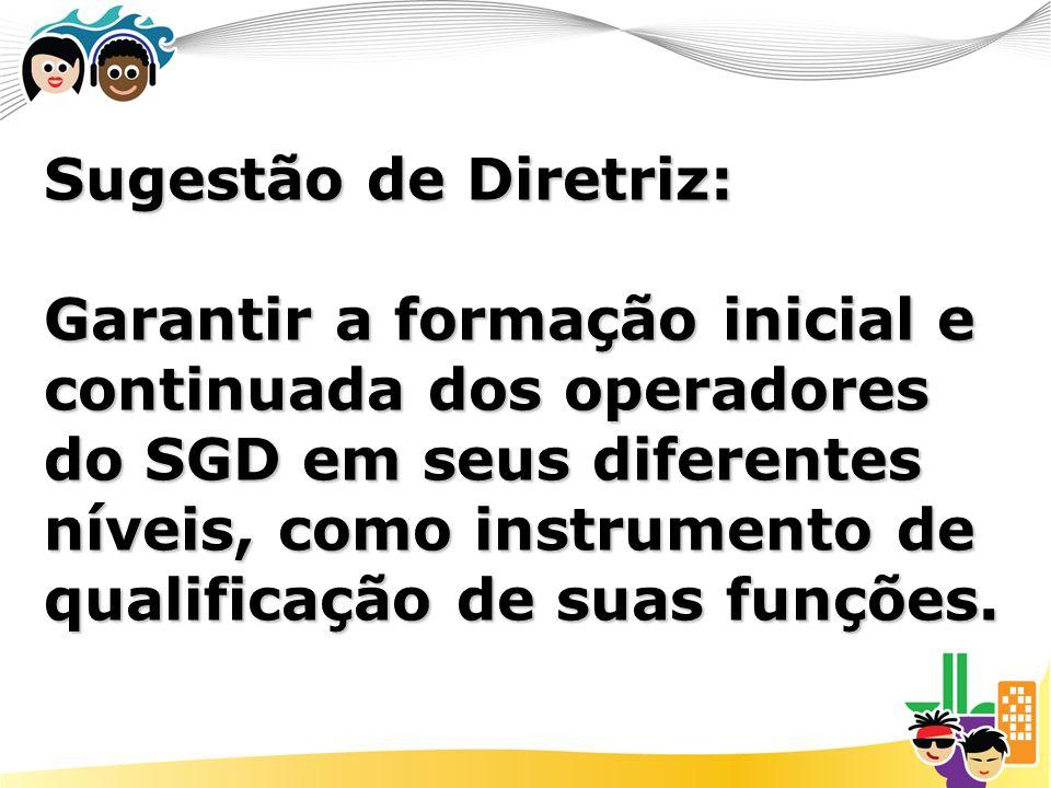 Sugestão de Diretriz: Garantir a formação inicial e continuada dos operadores do SGD em seus diferentes níveis, como instrumento de qualificação de suas funções.