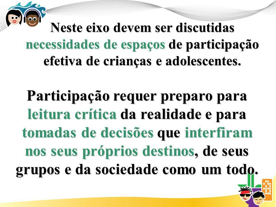 Neste eixo devem ser discutidas necessidades de espaços de participação efetiva de crianças e adolescentes.
