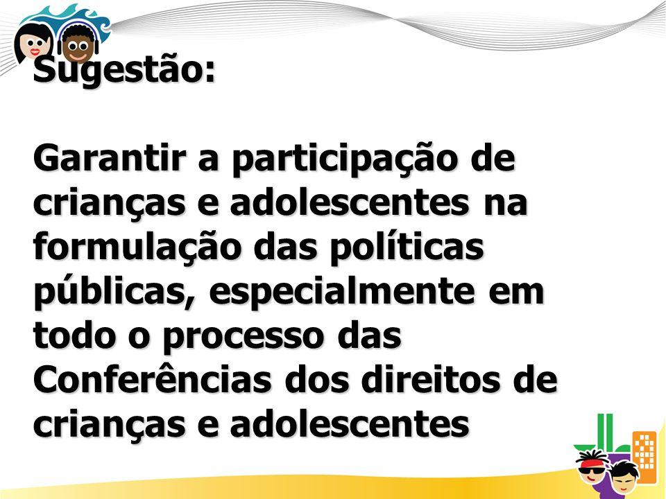 Sugestão: Garantir a participação de crianças e adolescentes na formulação das políticas públicas, especialmente em todo o processo das Conferências dos direitos de crianças e adolescentes