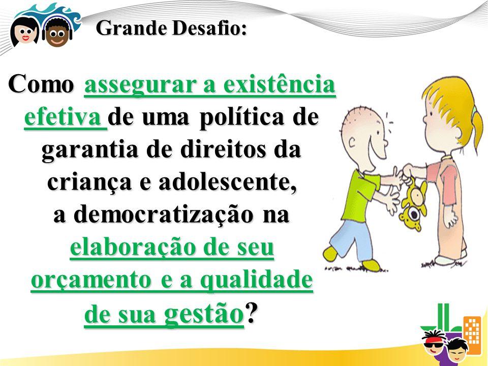 Grande Desafio: Como assegurar a existência efetiva de uma política de garantia de direitos da criança e adolescente, a democratização na elaboração de seu orçamento e a qualidade de sua gestão?