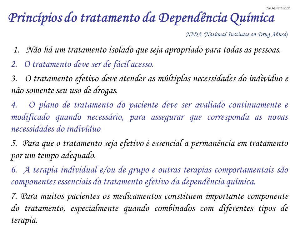 1. Não há um tratamento isolado que seja apropriado para todas as pessoas. 2. O tratamento deve ser de fácil acesso. 3. O tratamento efetivo deve aten