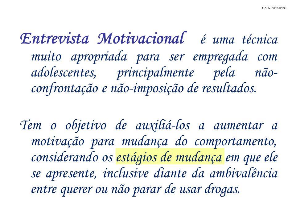 Entrevista Motivacional é uma técnica muito apropriada para ser empregada com adolescentes, principalmente pela não- confrontação e não-imposição de r