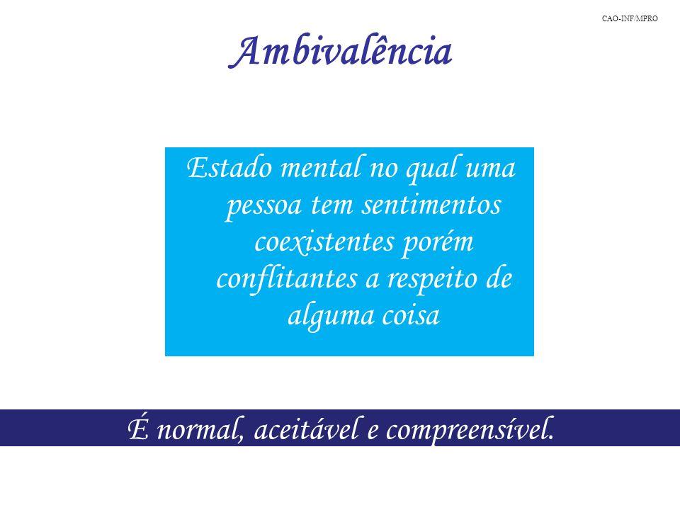 Ambivalência É normal, aceitável e compreensível. Estado mental no qual uma pessoa tem sentimentos coexistentes porém conflitantes a respeito de algum
