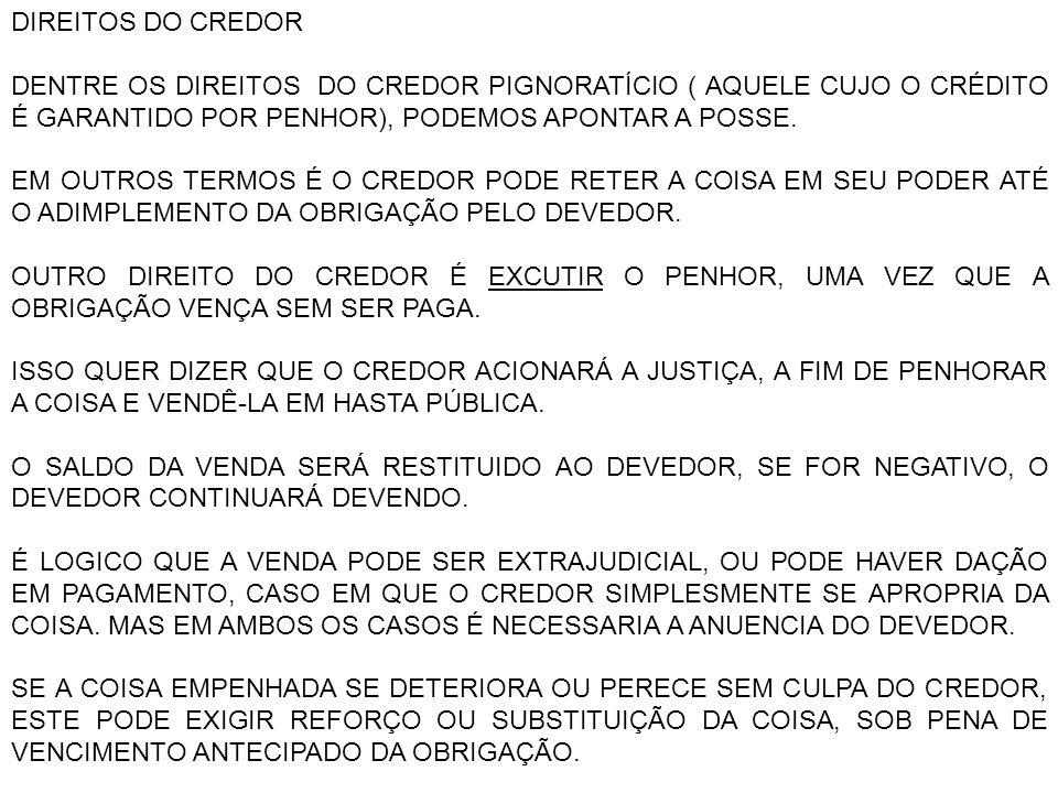 NESTE CASO, SERÁ TAMBÉM OPÇÃO DO CREDOR A VENDA ANTECIPADA DA COISA, DESDE QUE AUTORIZADO JUDICIALMENTE.