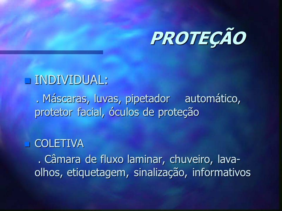 PROTEÇÃO n INDIVIDUAL:. Máscaras, luvas, pipetador automático, protetor facial, óculos de proteção. Máscaras, luvas, pipetador automático, protetor fa