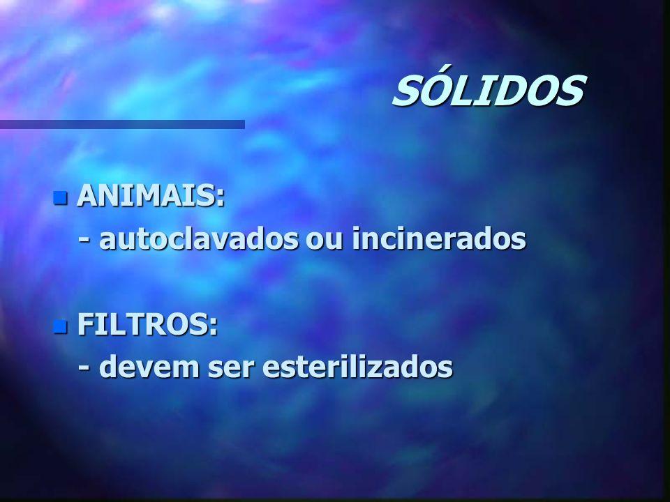SÓLIDOS n ANIMAIS: - autoclavados ou incinerados - autoclavados ou incinerados n FILTROS: - devem ser esterilizados - devem ser esterilizados