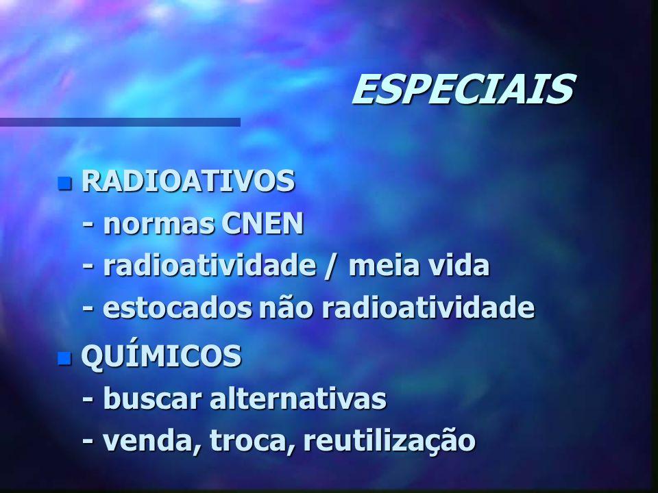 ESPECIAIS n RADIOATIVOS - normas CNEN - normas CNEN - radioatividade / meia vida - radioatividade / meia vida - estocados não radioatividade - estocad