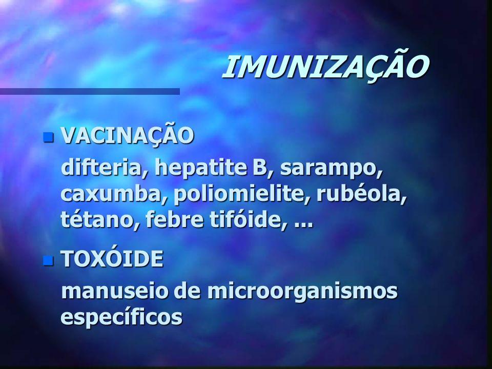 IMUNIZAÇÃO n VACINAÇÃO difteria, hepatite B, sarampo, caxumba, poliomielite, rubéola, tétano, febre tifóide,... difteria, hepatite B, sarampo, caxumba