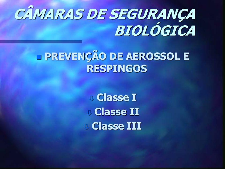 CÂMARAS DE SEGURANÇA BIOLÓGICA n PREVENÇÃO DE AEROSSOL E RESPINGOS ò Classe I ò Classe II ò Classe III