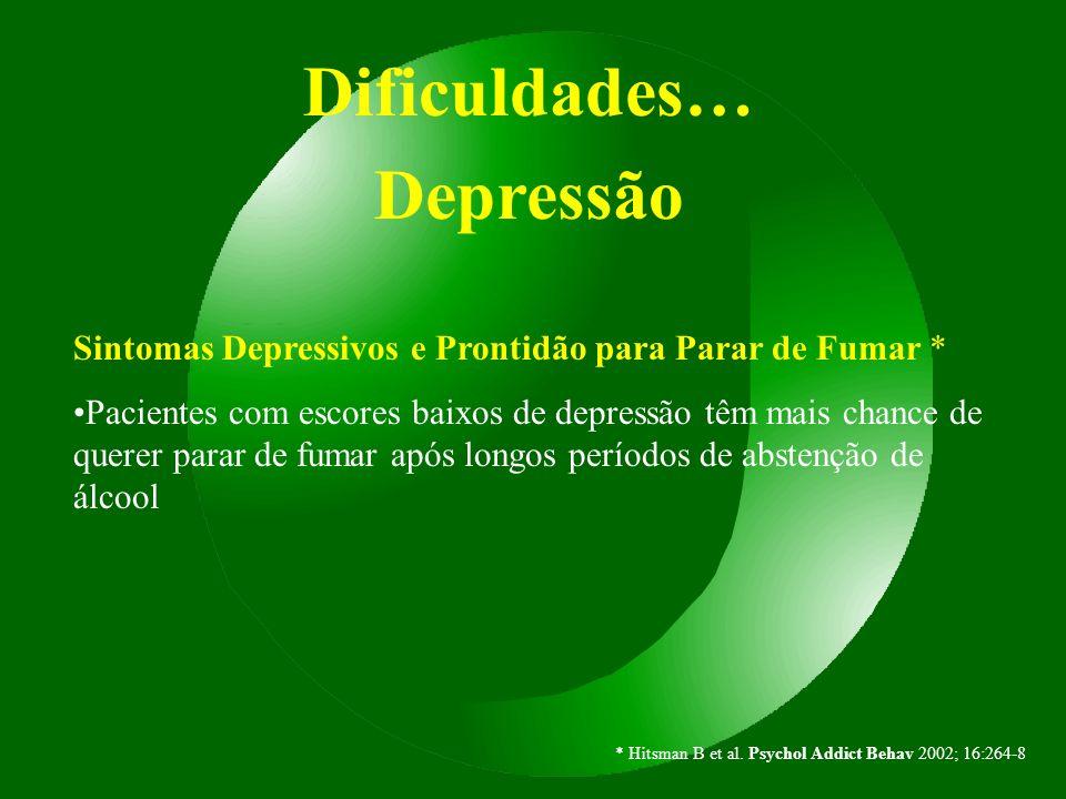 Dificuldades… Depressão Sintomas Depressivos e Prontidão para Parar de Fumar * Pacientes com escores baixos de depressão têm mais chance de querer par
