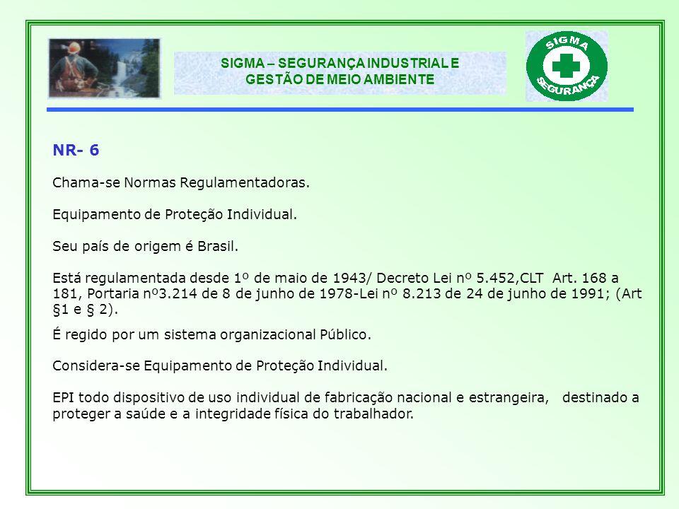SIGMA – SEGURANÇA INDUSTRIAL E GESTÃO DE MEIO AMBIENTE NR-18 Chama-se Normas Regulamentadoras.