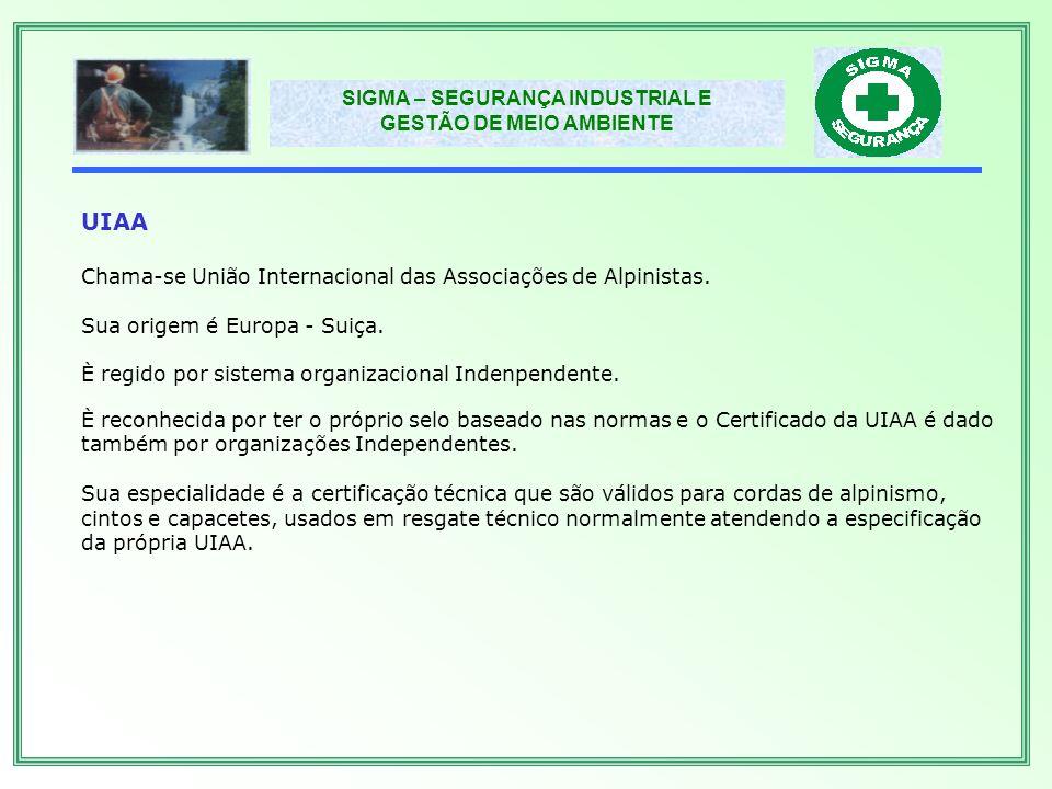 SIGMA – SEGURANÇA INDUSTRIAL E GESTÃO DE MEIO AMBIENTE OSHA Chama-se Occupational Safety and Health Administration.