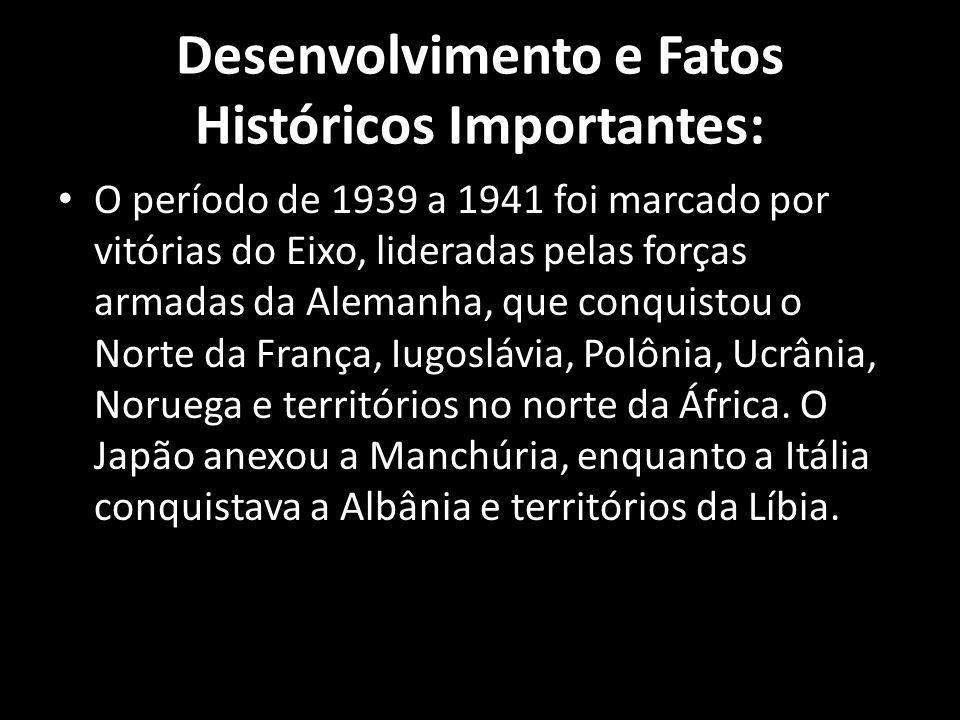Desenvolvimento e Fatos Históricos Importantes: O período de 1939 a 1941 foi marcado por vitórias do Eixo, lideradas pelas forças armadas da Alemanha,