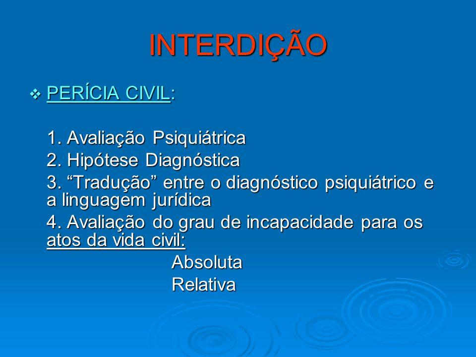INTERDIÇÃO PERÍCIA CIVIL: PERÍCIA CIVIL: 1. Avaliação Psiquiátrica 2. Hipótese Diagnóstica 3. Tradução entre o diagnóstico psiquiátrico e a linguagem