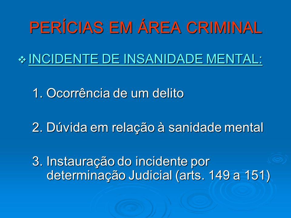 PERÍCIAS EM ÁREA CRIMINAL INCIDENTE DE INSANIDADE MENTAL: INCIDENTE DE INSANIDADE MENTAL: 1. Ocorrência de um delito 1. Ocorrência de um delito 2. Dúv