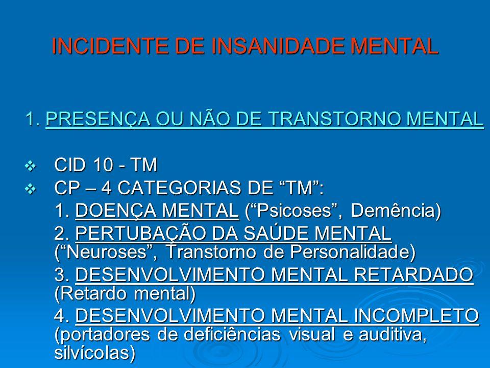 INCIDENTE DE INSANIDADE MENTAL 1. PRESENÇA OU NÃO DE TRANSTORNO MENTAL CID 10 - TM CID 10 - TM CP – 4 CATEGORIAS DE TM: CP – 4 CATEGORIAS DE TM: 1. DO